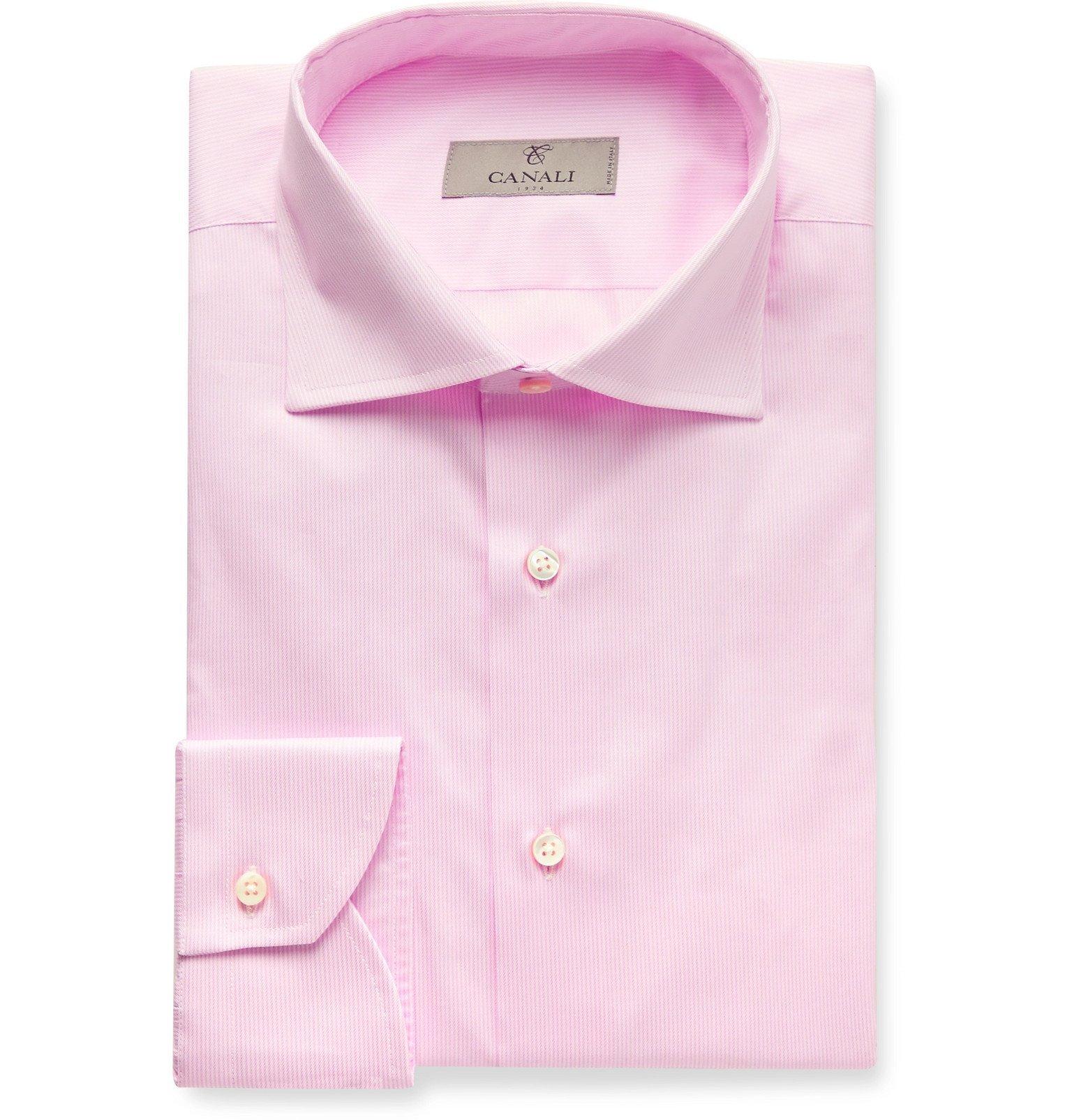 Photo: Canali - Light-Blue Striped Cotton Shirt - Pink