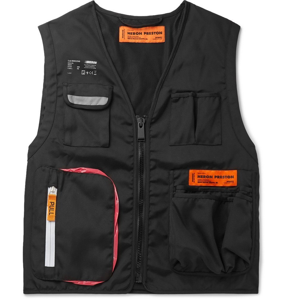 Photo: Heron Preston - Reflective-Trimmed Canvas Gilet - Black