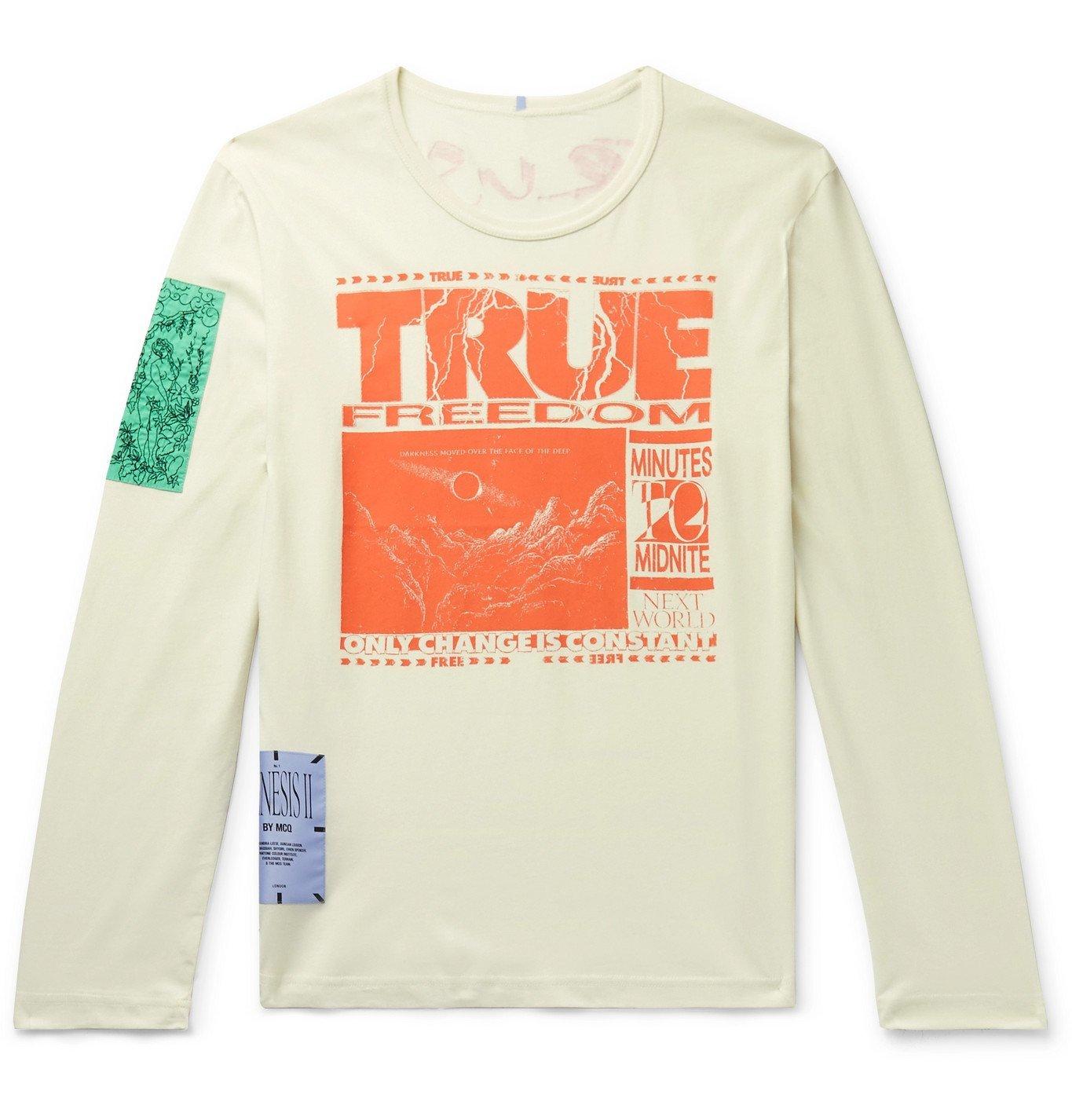 Photo: MCQ - Appliquéd Printed Cotton-Jersey T-Shirt - Neutrals