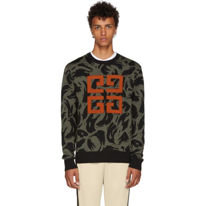 Photo: Givenchy Khaki and Black Jacquard Big 4G Sweater