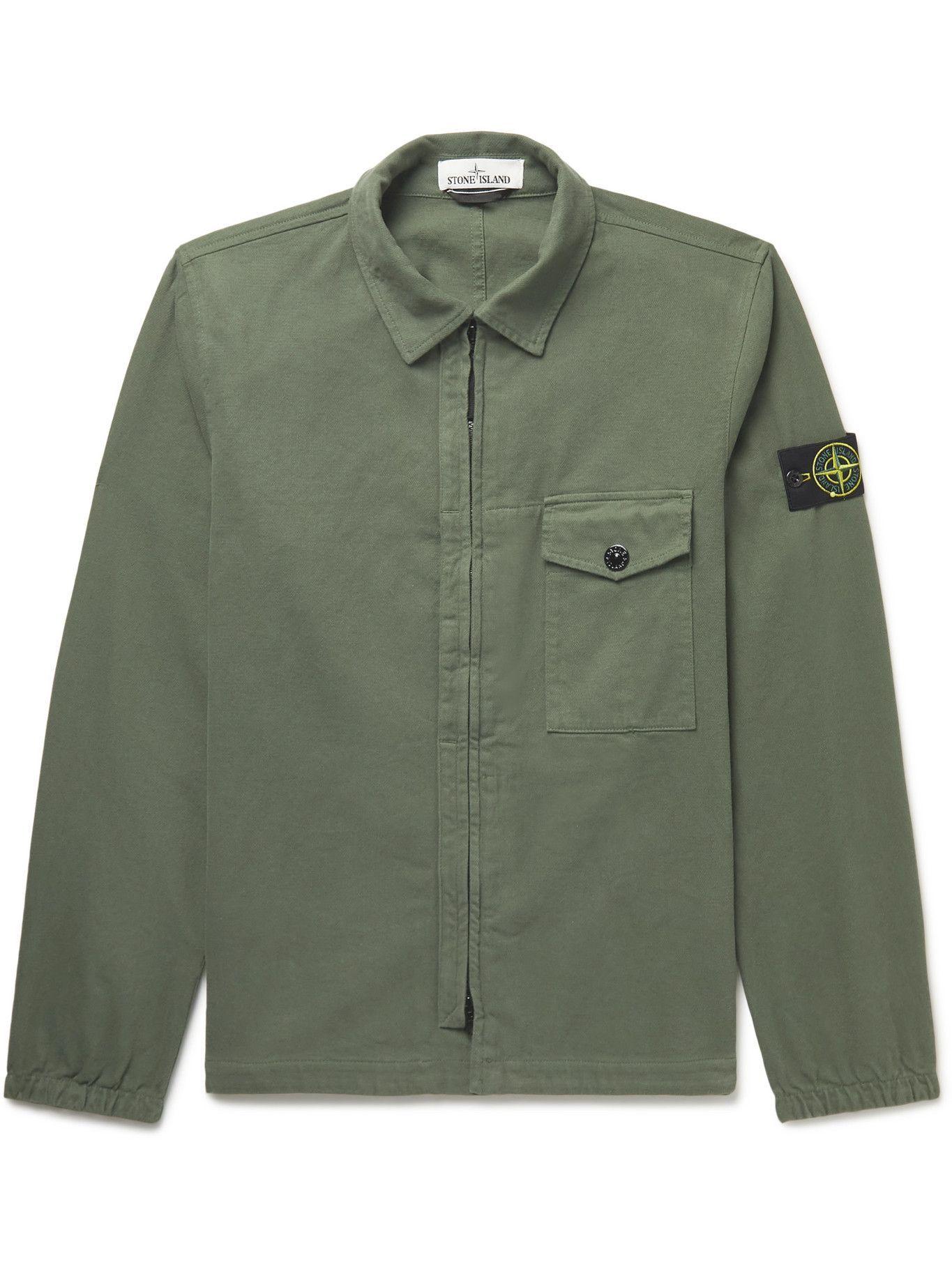 Photo: Stone Island - Logo-Appliquéd Cotton Overshirt - Green