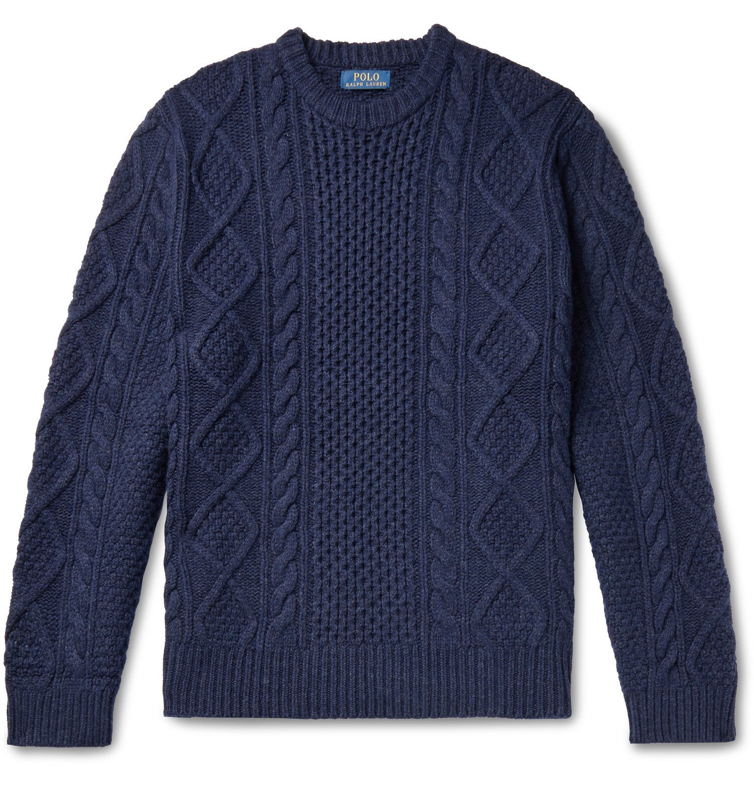 Photo: Polo Ralph Lauren - Cable-Knit Wool and Cashmere-Blend Sweater - Blue