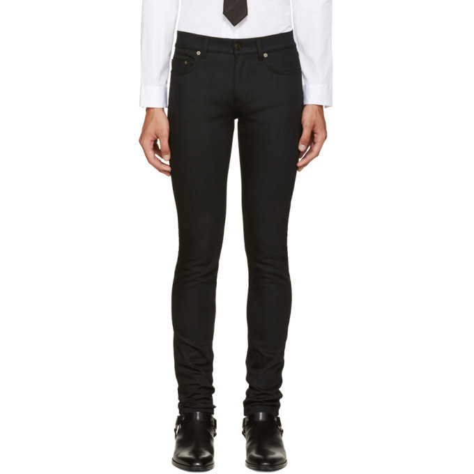 Photo: Saint Laurent Black Original Low Waisted Skinny Jeans
