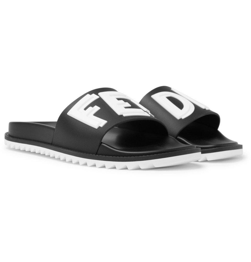 Photo: Fendi - Logo-Print Rubber Slides - Black
