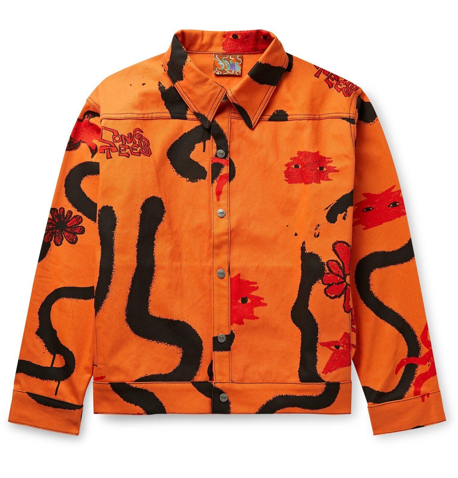 Photo: COME TEES - Printed Denim Jacket - Orange