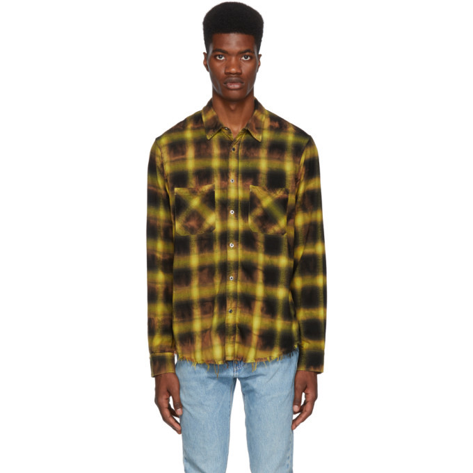 Photo: Amiri Yellow Tie Dye Blotch Plaid Shirt