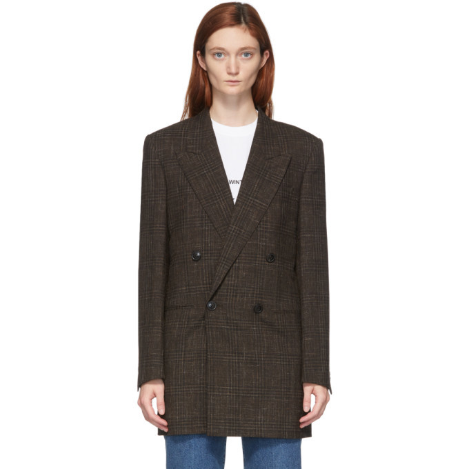 Martine Rose Brown Double-Breasted Bobby Blazer