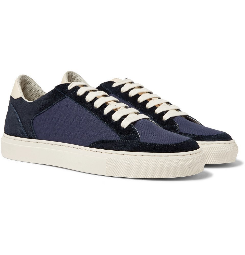 Photo: Brunello Cucinelli - Leather-Trimmed Suede and Ripstop Sneakers - Navy