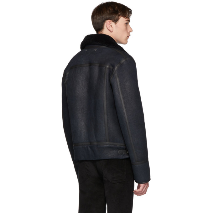 PS by Paul Smith Navy Shearling Ian Jacket