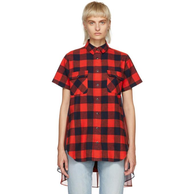 Sacai Navy and Orange Buffalo Check Shirt Dress
