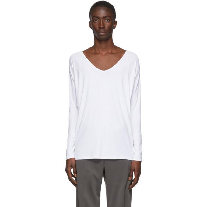 Photo: Random Identities White Drapey V-Neck T-Shirt