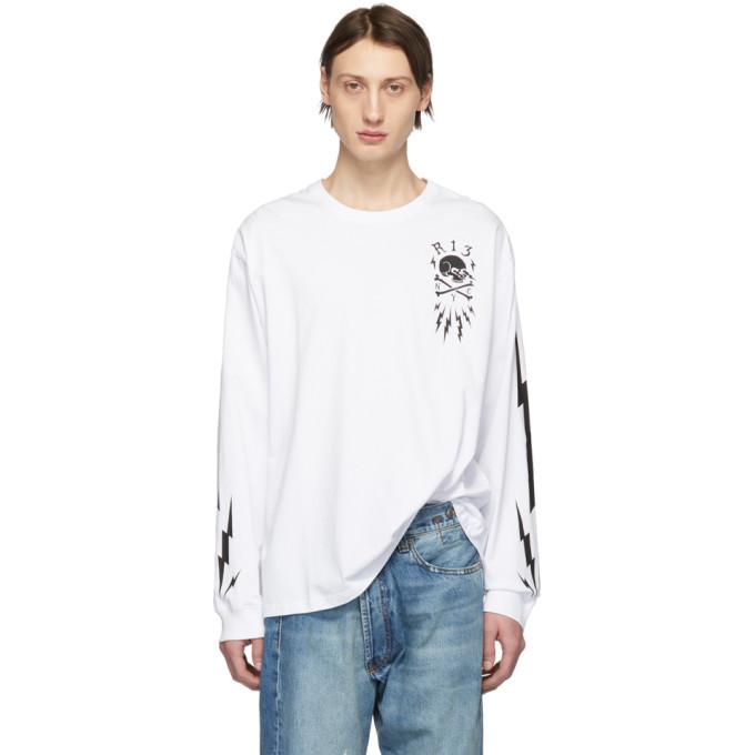 Photo: R13 White Skull Bolt Long Sleeve T-Shirt