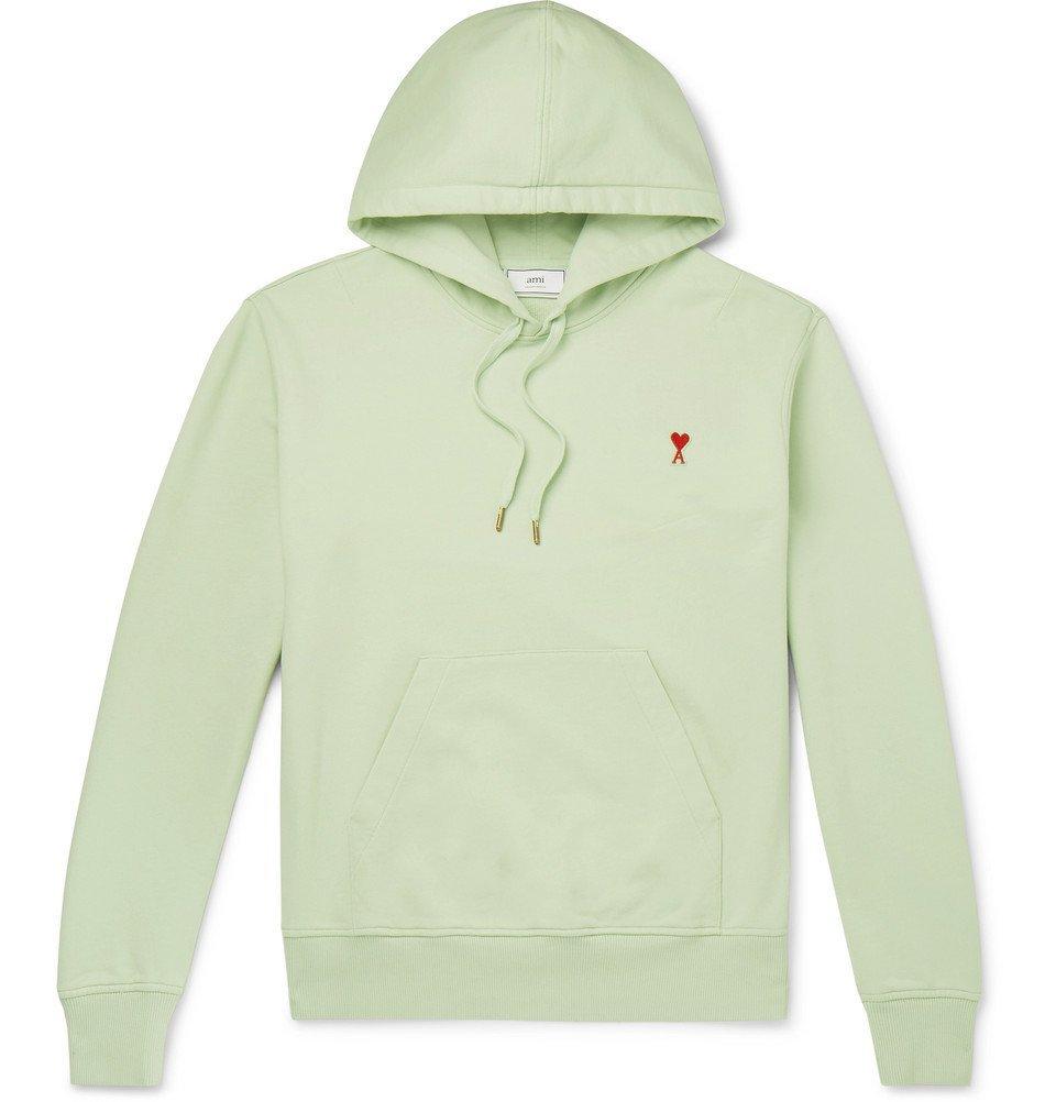 Photo: AMI - Logo-Appliquéd Loopback Cotton-Jersey Hoodie - Mint