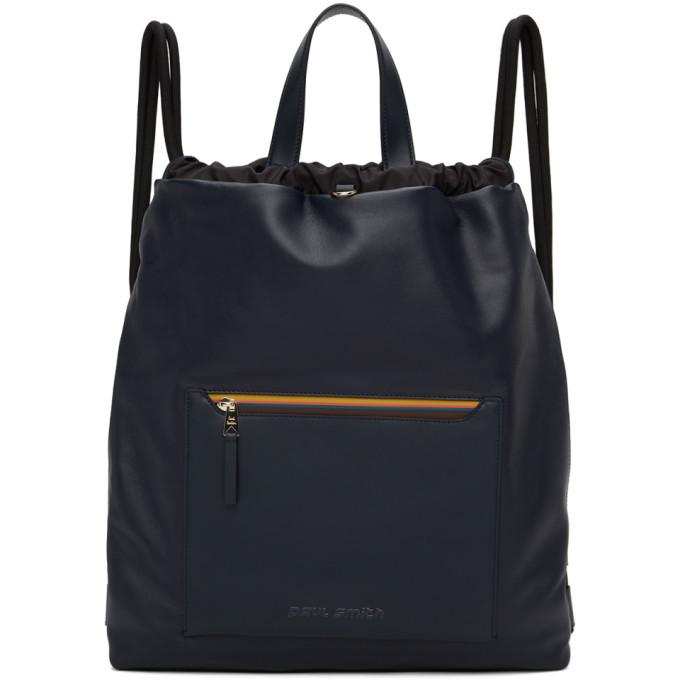 Photo: Paul Smith Navy Leather Stripe Duffle Bag