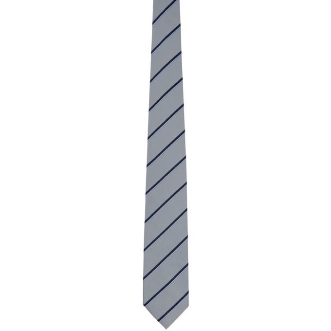 Dunhill Blue Silk Tri-Color Stripe Tie