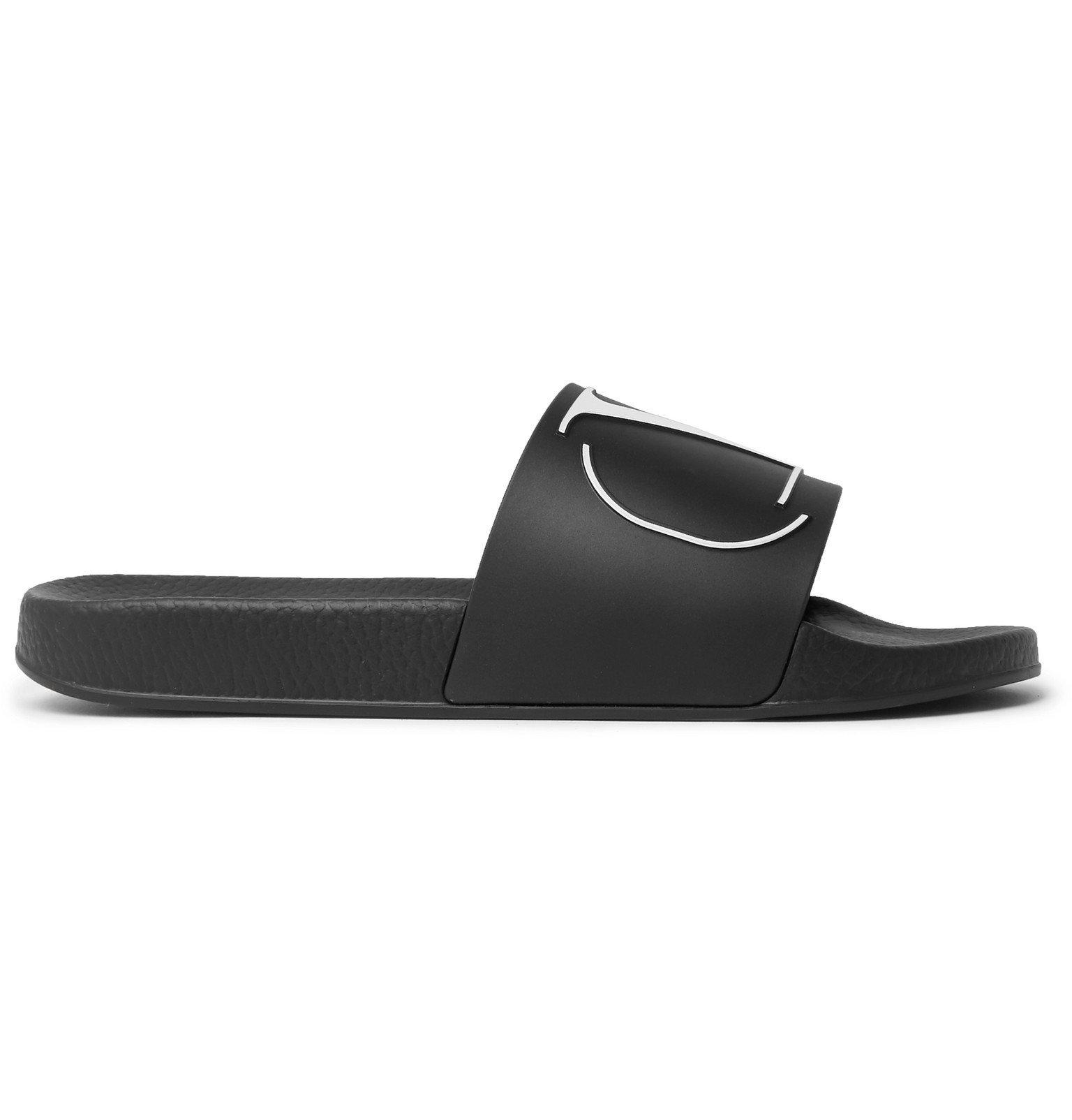 Photo: Valentino - Valentino Garavani Logo-Embossed Rubber Slides - Black
