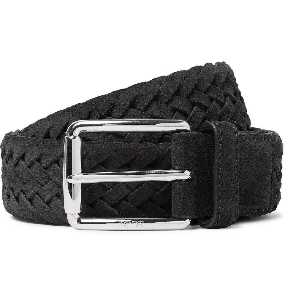 Tod's - 3.5cm Dark-Grey Woven Suede Belt - Dark gray