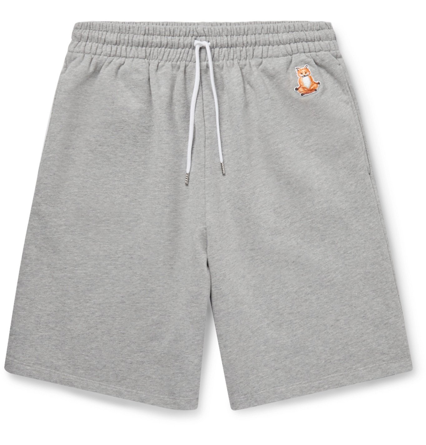 Photo: Maison Kitsuné - Logo-Appliquéd Mélange Loopback Cotton-Jersey Drawstring Shorts - Gray