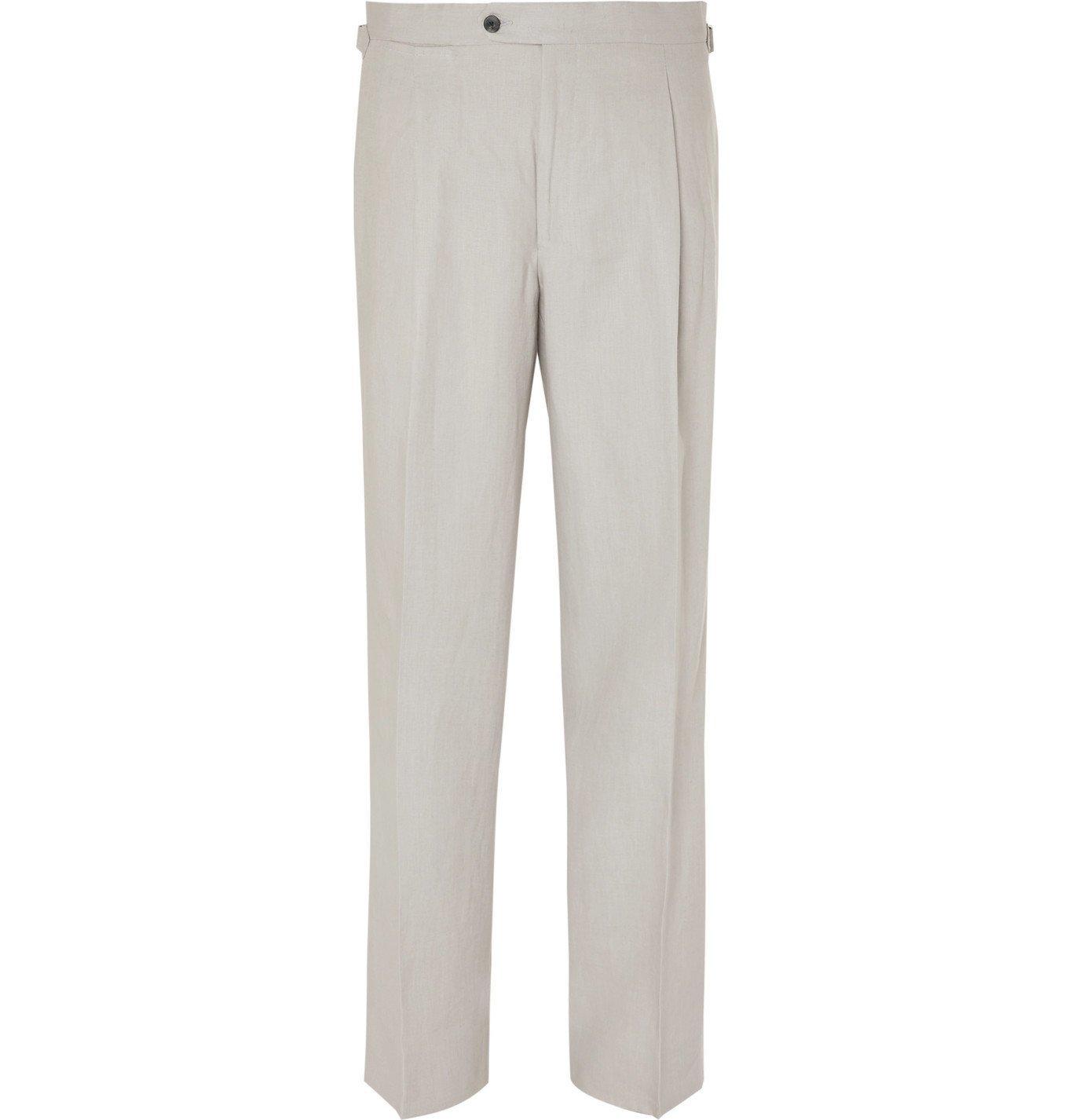 Photo: Saman Amel - Wide-Leg Pleated Linen Trousers - Gray