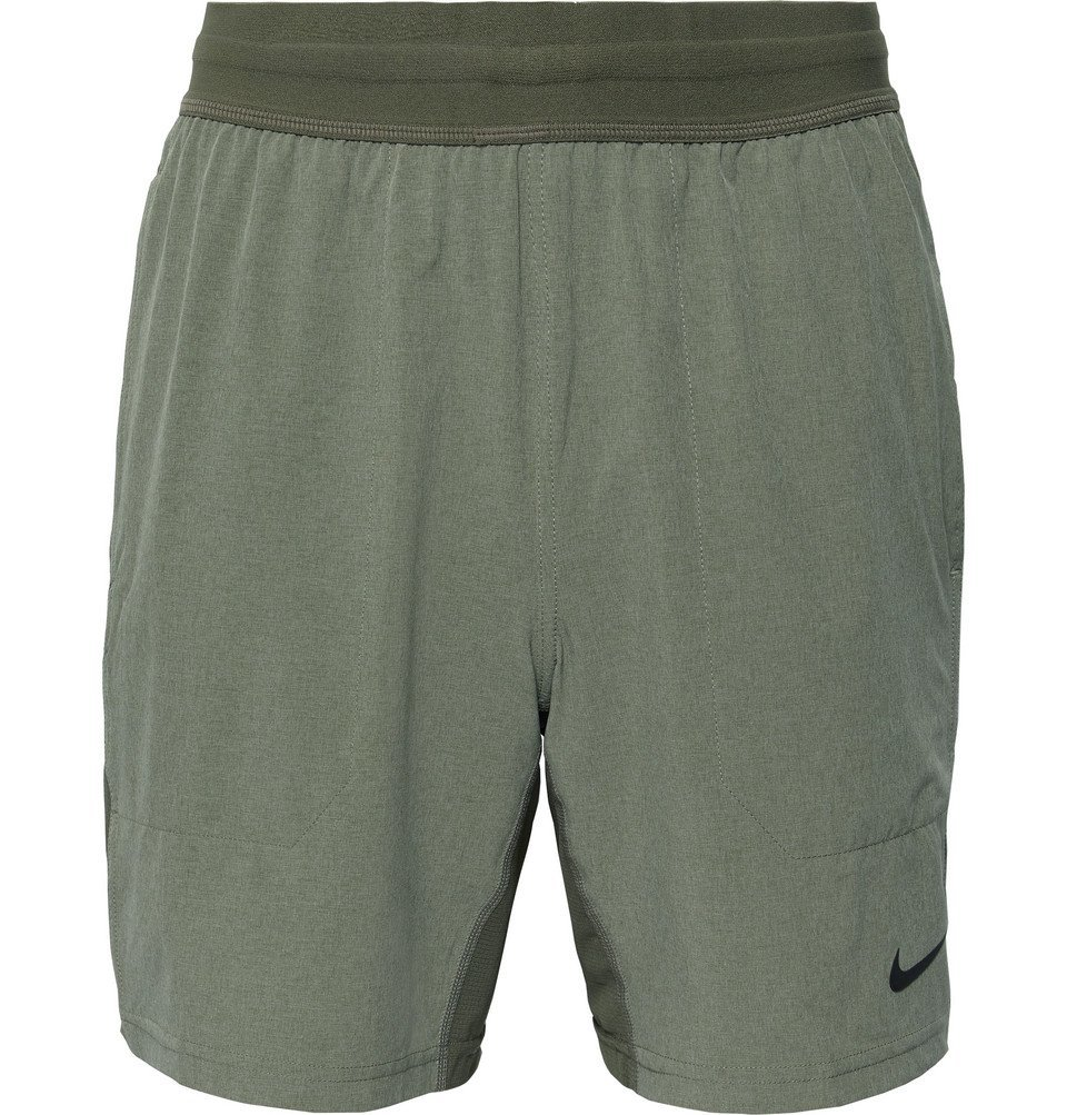 Photo: Nike Training - Flex Active Ripstop-Panelled Dri-FIT Yoga Shorts - Army green