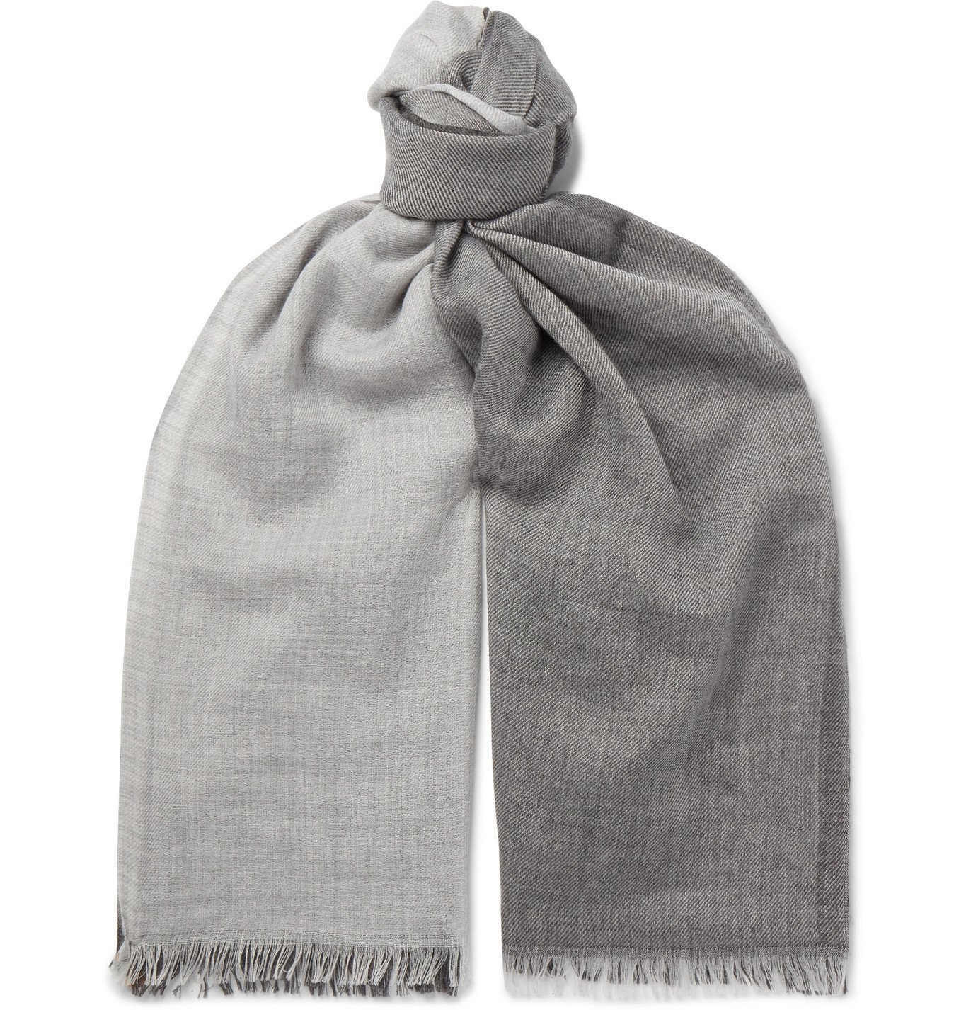 Photo: Brunello Cucinelli - Fringed Striped Cashmere and Silk-Blend Scarf - Gray