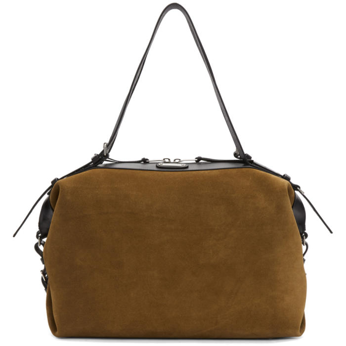 Photo: Saint Laurent Brown Suede Medium ID Duffle Bag