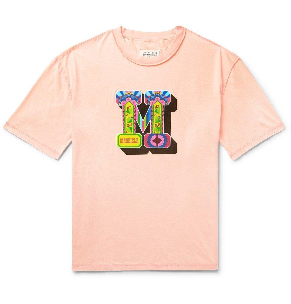 Photo: Maison Margiela - Oversized Distressed Printed Cotton-Jersey T-Shirt - Peach