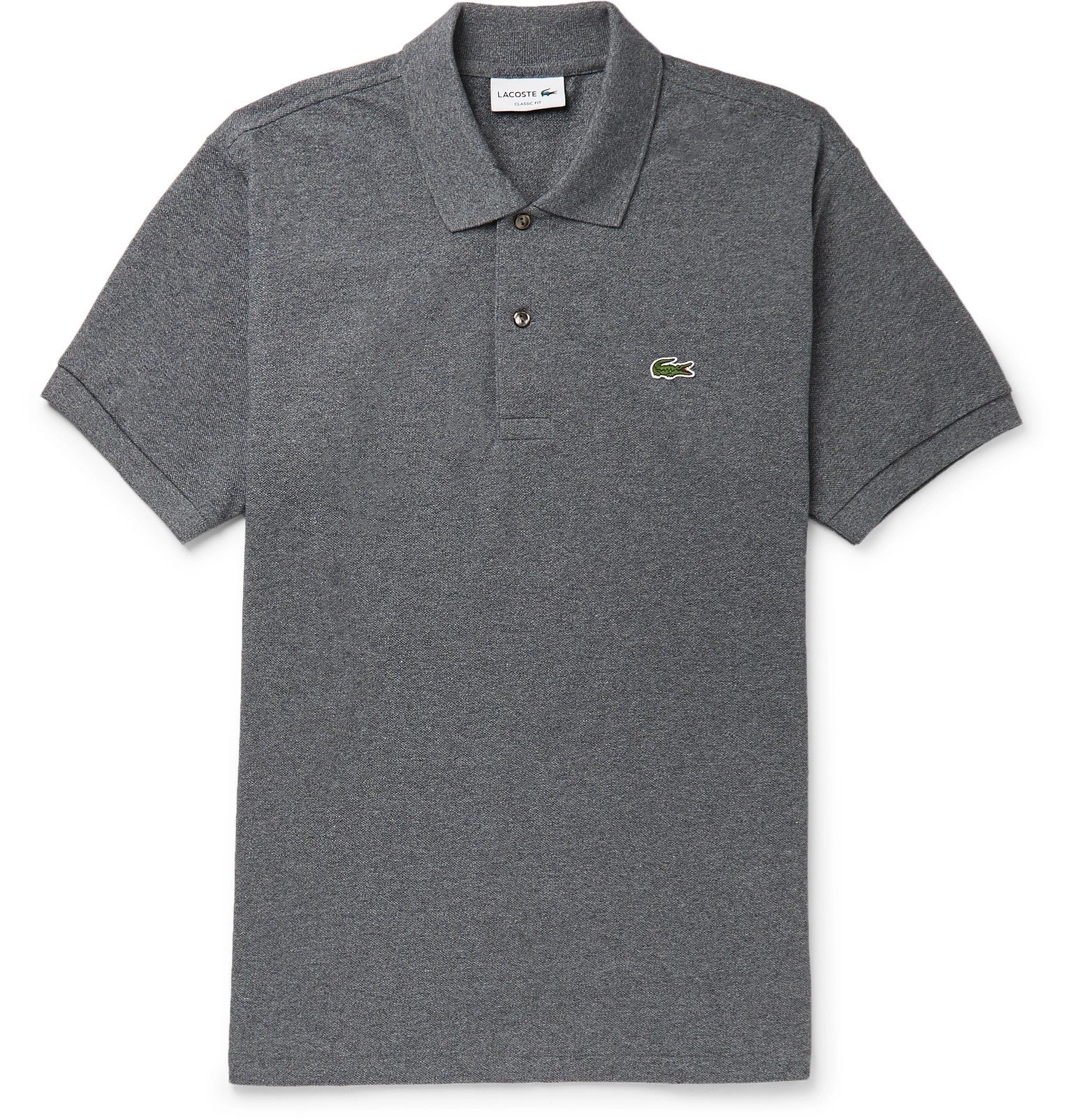 Photo: Lacoste - Mélange Cotton-Piqué Polo Shirt - Gray