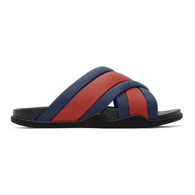 Photo: Gucci Blue and Red Agrado Slip-On Sandals