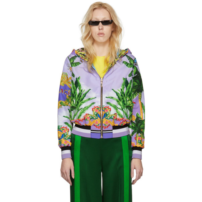 Photo: Versace Reversible Multicolor Hooded Bomber Jacket