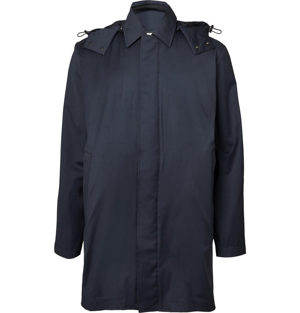 Photo: Norse Projects - Trondheim Storm System Wool Hooded Raincoat - Navy