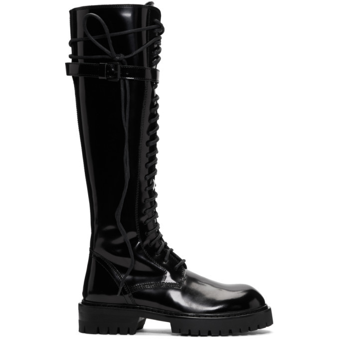 Photo: Ann Demeulemeester SSENSE Exclusive Black Patent Lace-Up Knee-High Boots