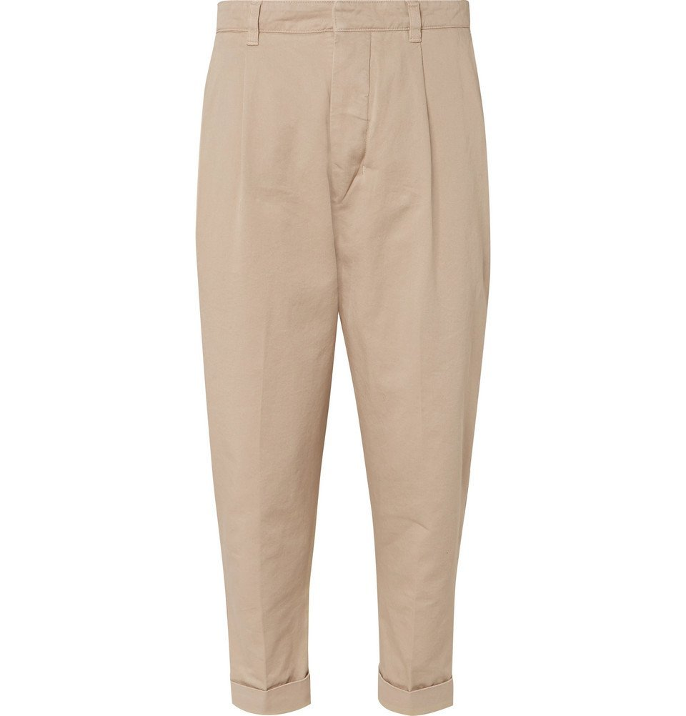 Photo: AMI - Tapered Pleated Cotton-Twill Chinos - Beige
