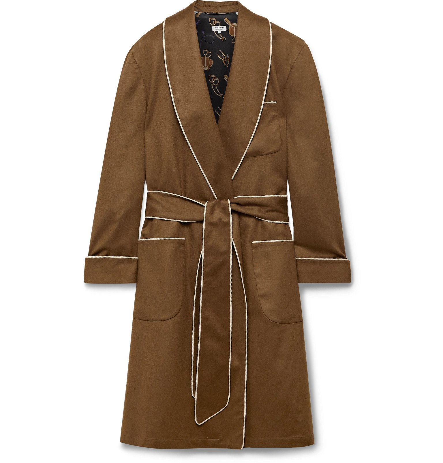 Photo: Paul Stuart - Piped Checked Silk Robe - Brown