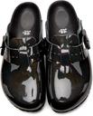 Rick Owens Black Birkenstock Edition Patent Iridescent Boston Sandals
