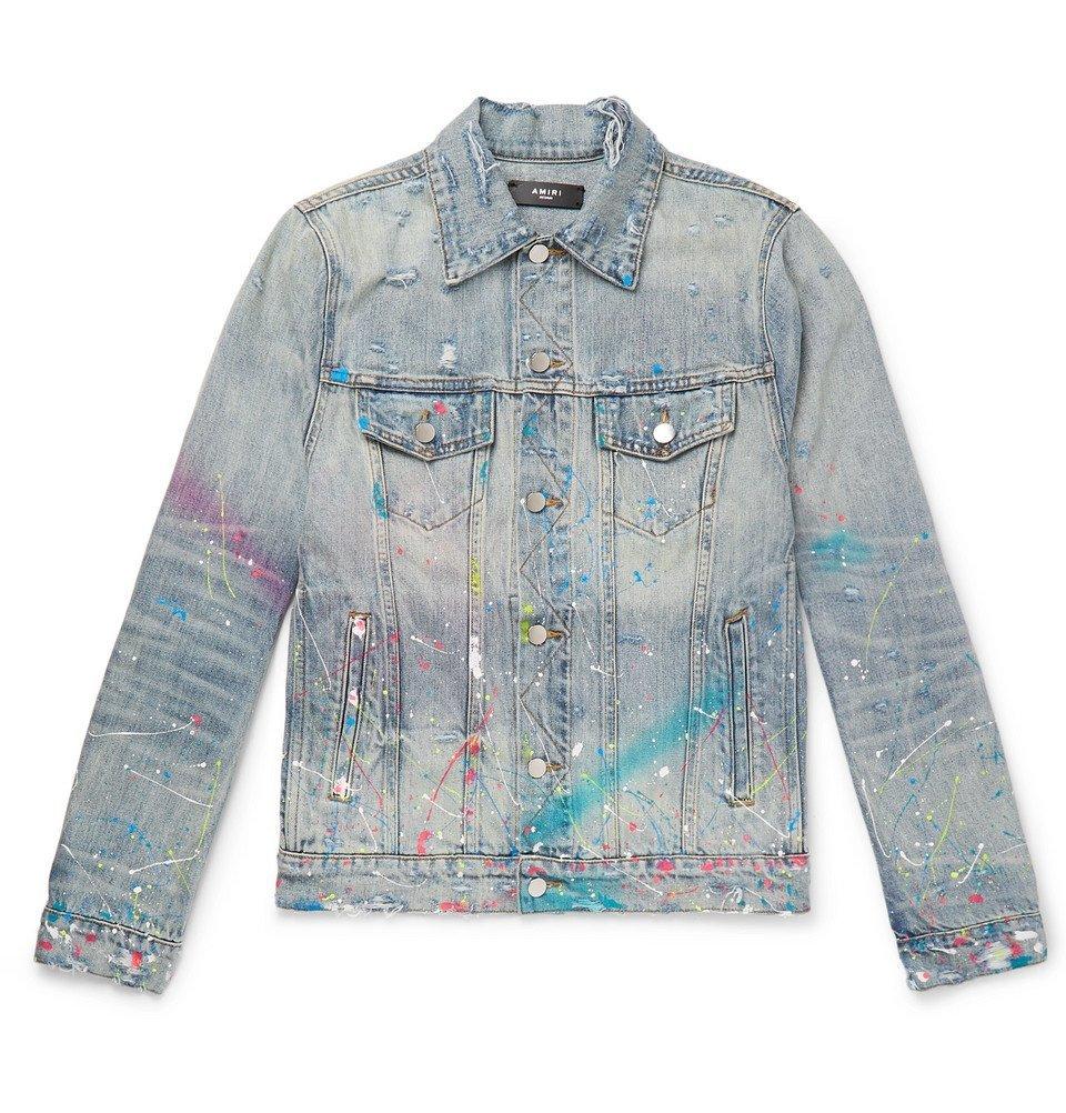 AMIRI   Paint Splattered Distressed Denim Jacket   Blue