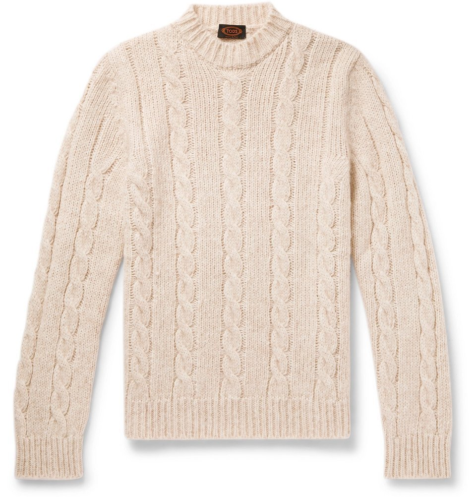 Tod's - Cable-Knit Sweater - Men - Cream
