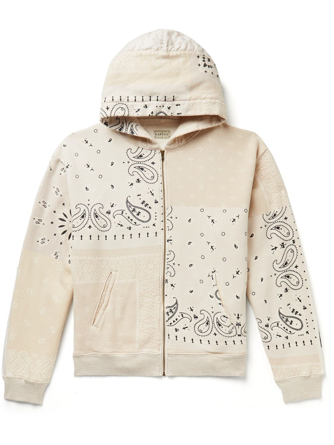 Photo: KAPITAL - Bandana-Print Cotton-Jersey and Quilted Shell Zip-Up Hoodie - Neutrals