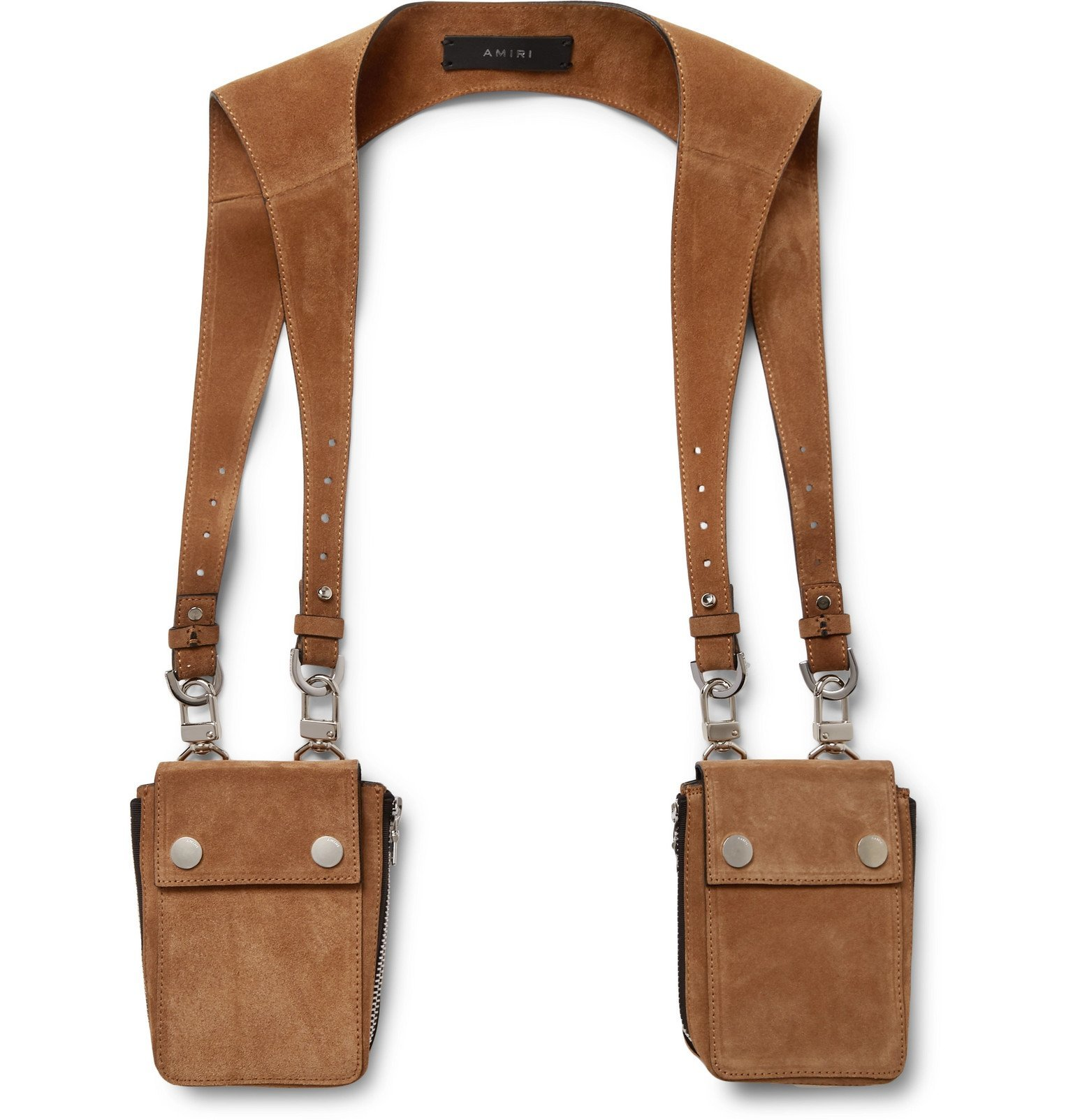 Photo: AMIRI - Suede Harness Bags - Brown