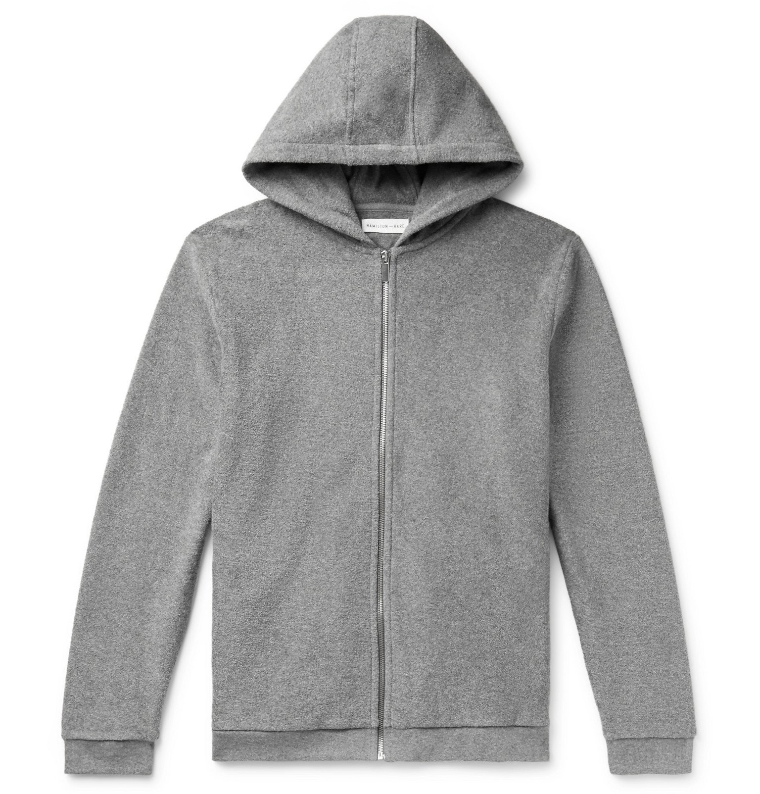 Photo: Hamilton and Hare - Cotton-Terry Zip-Up Hoodie - Gray