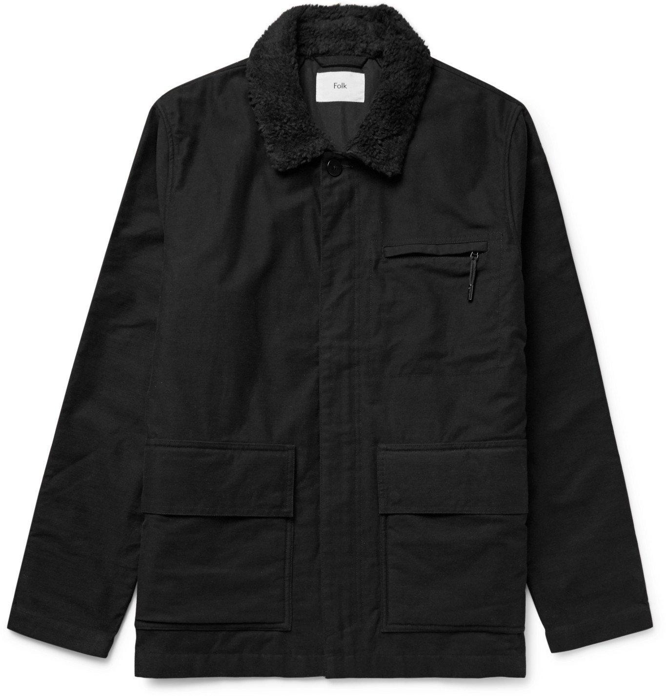Photo: Folk - Alber Fleece-Trimmed Cotton Jacket - Black