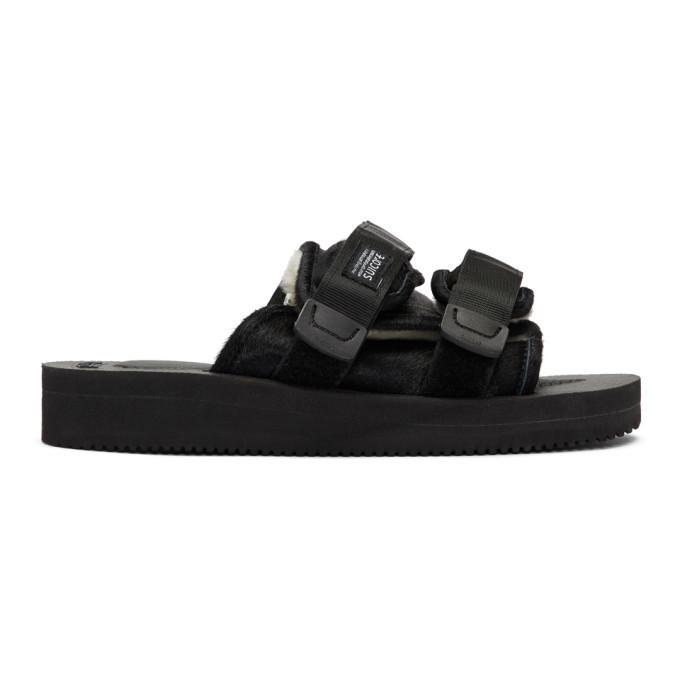 Photo: Suicoke Black Calf-Hair Moto-M Sandals