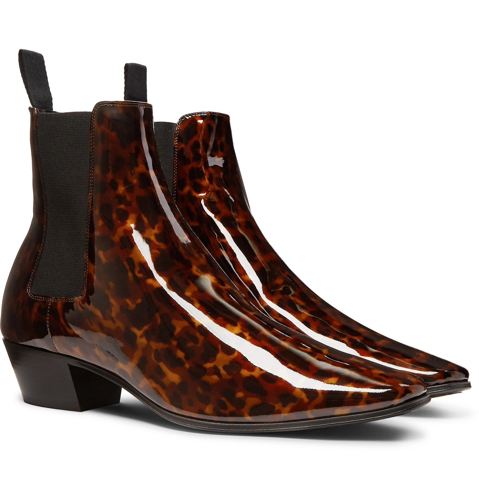 Photo: SAINT LAURENT - Dylan Tortoiseshell-Effect Patent-Leather Chelsea Boots - Brown