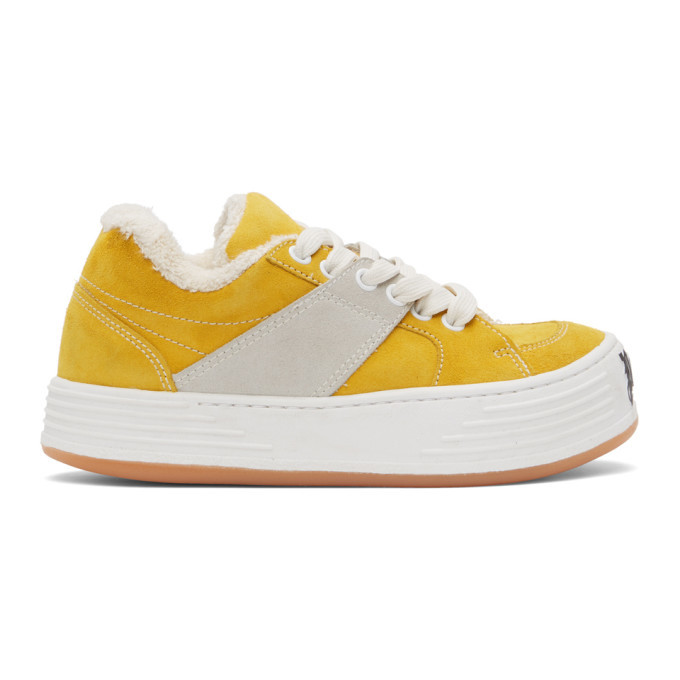 Photo: Palm Angels Yellow Suede Snow Low Top Sneakers