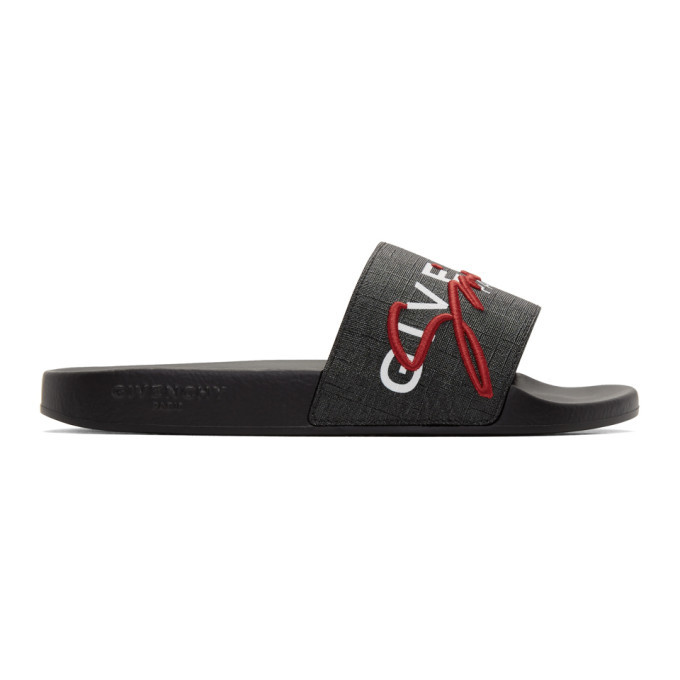 Photo: Givenchy Black and Red Logo Flat Slides