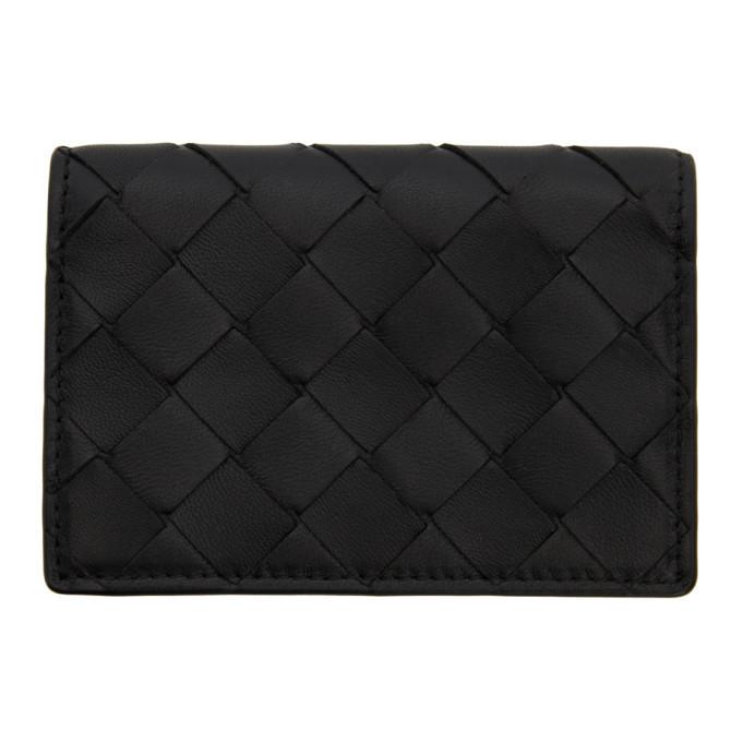 Photo: Bottega Veneta Black Intrecciato Bifold Card Holder