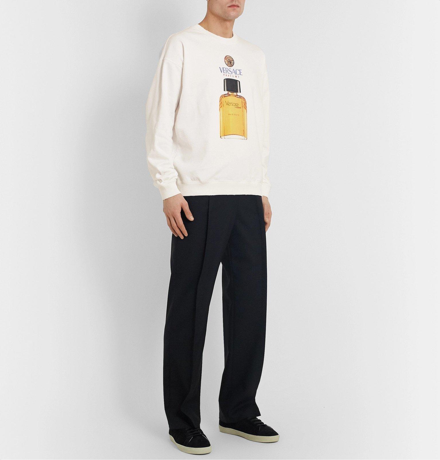 Versace - Logo-Print Loopback Cotton-Jersey Sweatshirt - White