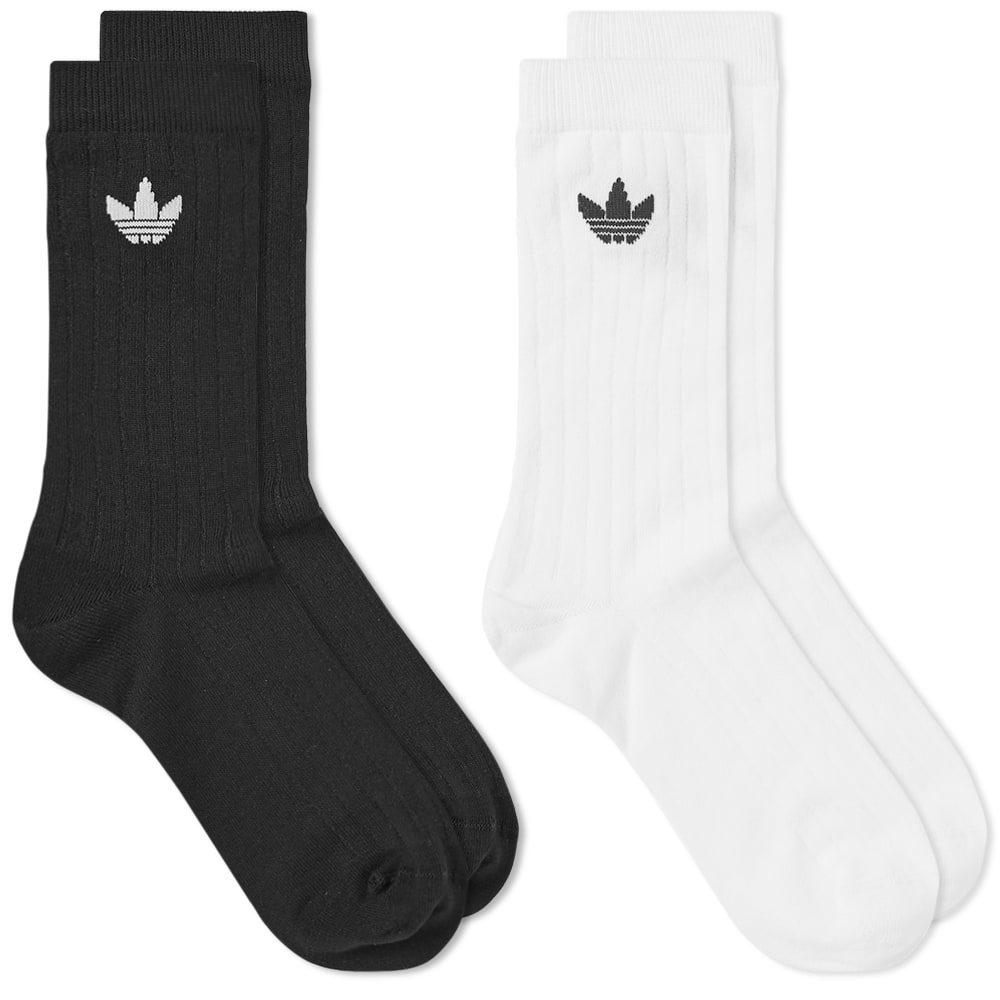 Adidas Mid Rib Sock - 2 Pack Black & White