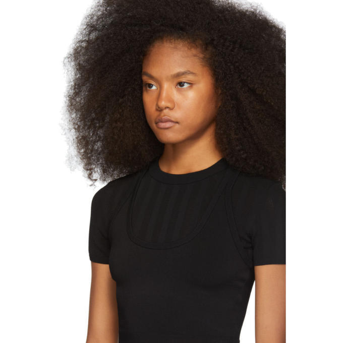 alexanderwang.t Black Mesh Stripe Bi-Layer T-Shirt