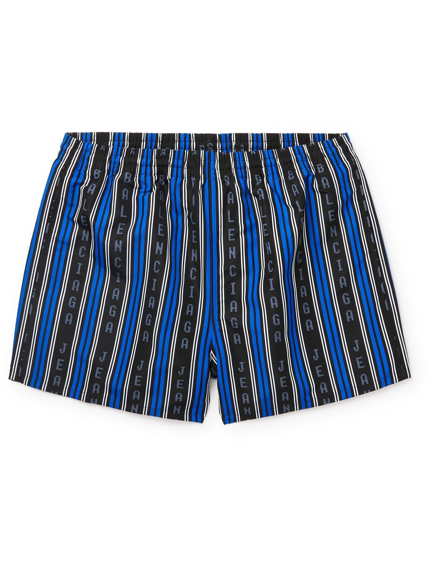 Photo: BALENCIAGA - Short-Length Logo-Print Striped Swim Shorts - Multi